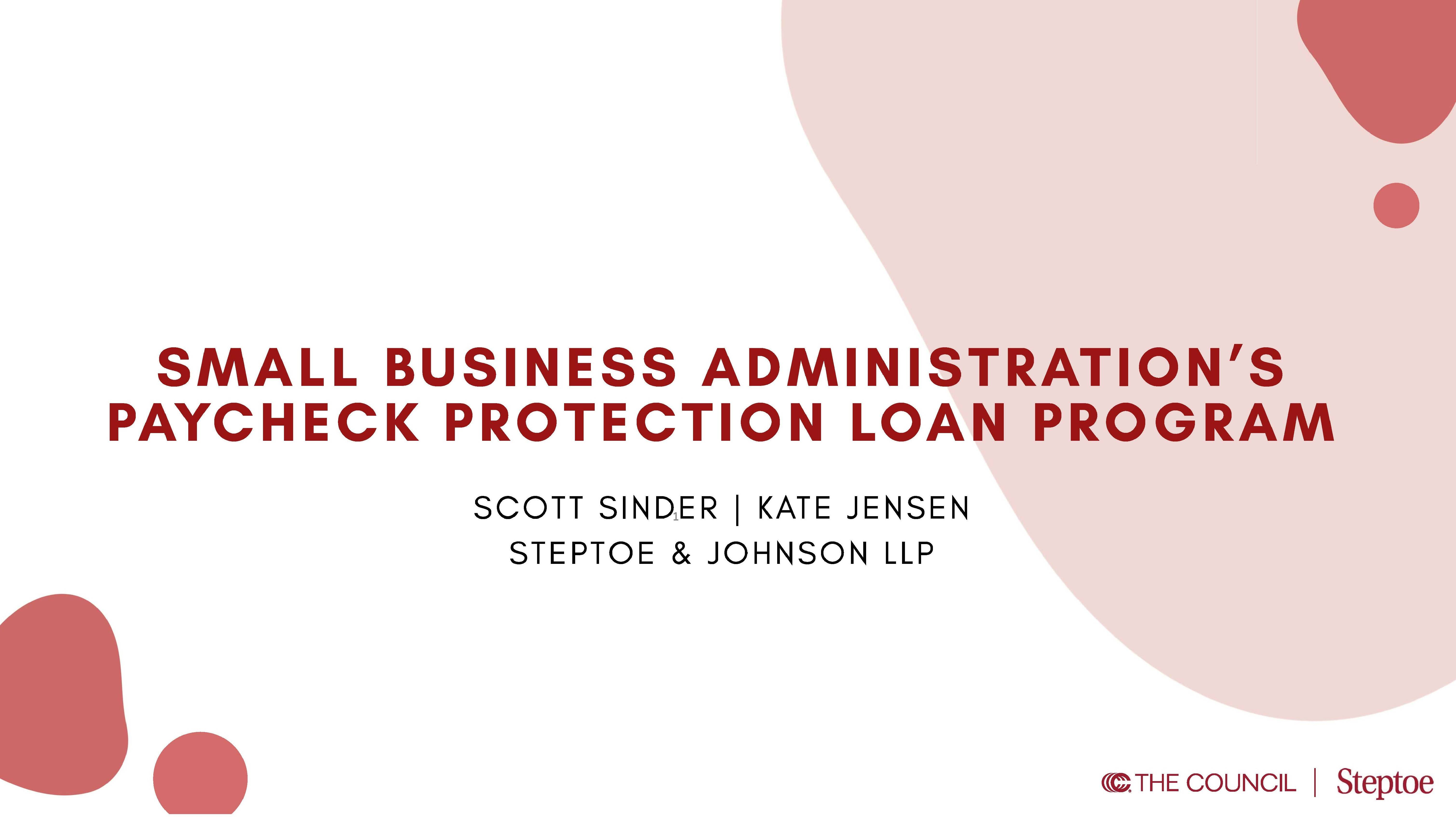 Unpacking the CARES Act Paycheck Protection Loan Program Webinar
